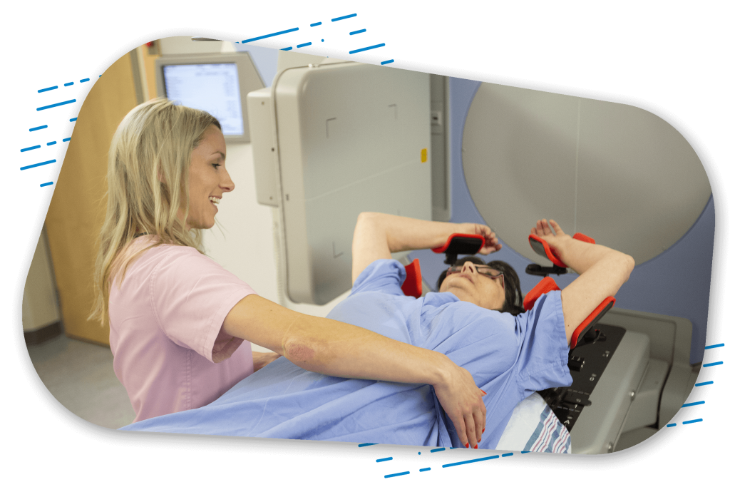 Digital imaging technician nurse aligning patient to prepare for scanning