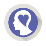 Icon of person's head with heart in it