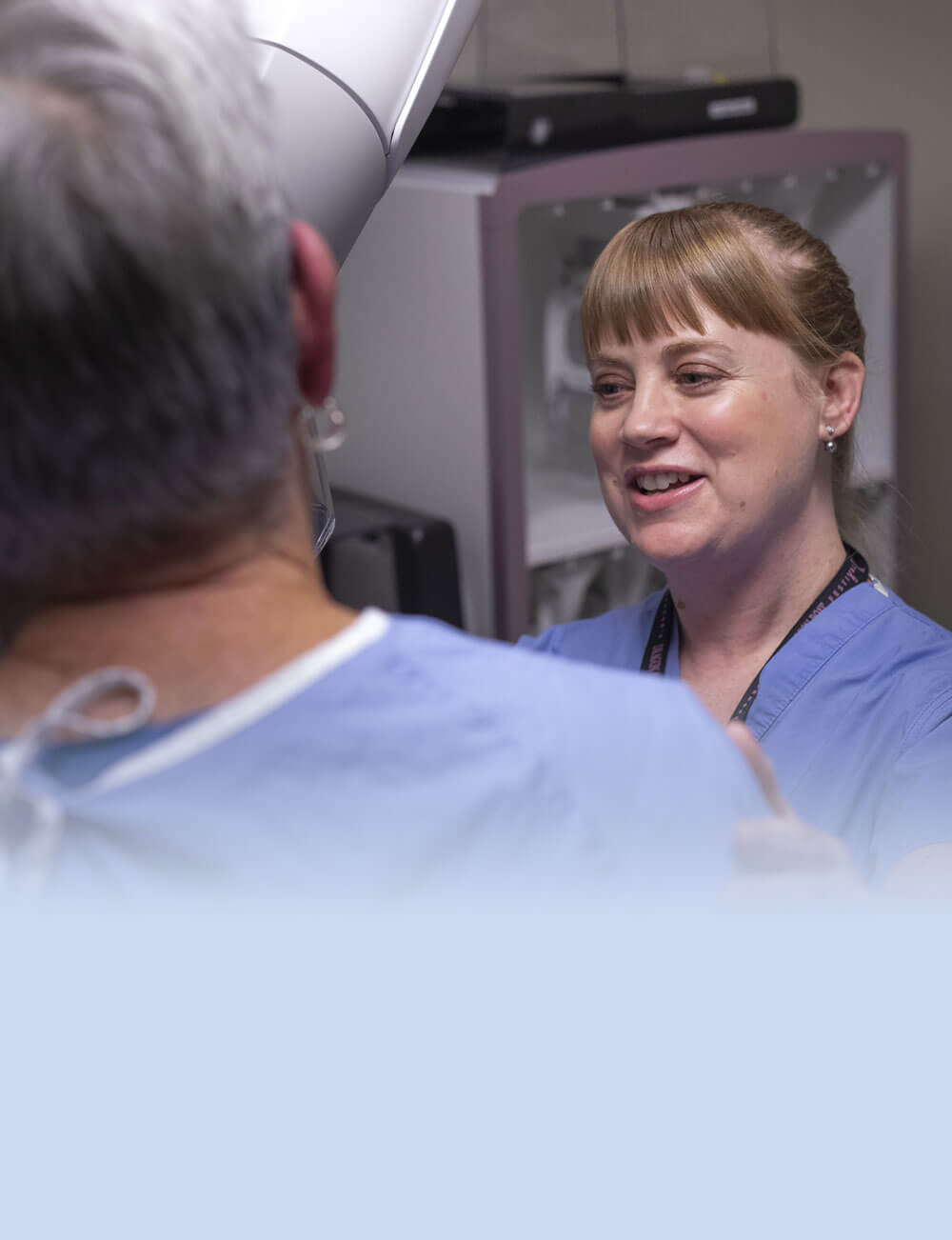 Mammography doctor smiling at patient