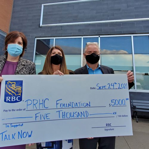 Representatives from PRHC Foundation and RBC pose with a big cheque
